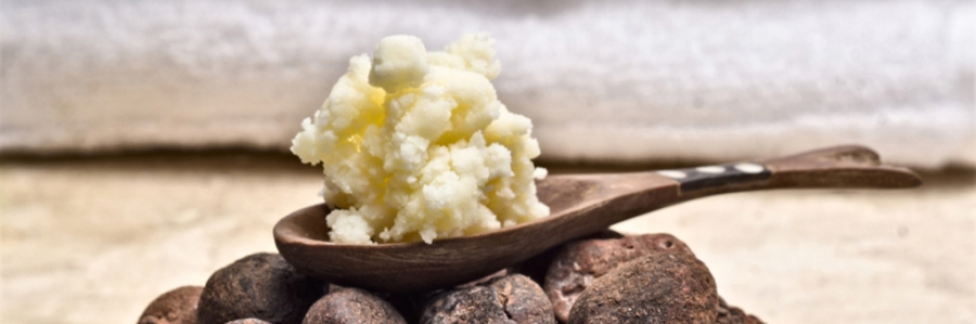 Shea nuts in a dish with a wooden spoon of shea butter